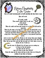 Return to Sender Banishing Spell 1pg Parch fr Wicca Pagan Book of Shadows Ritual