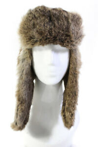 Crown Cap Unisex Rabbit Fur Lined Nylon Ushanka Hat Beige Size Small