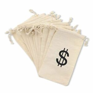 12 Pack Money Dollar Sign Party Favor Bags Drawstring Gift Bag Pirate Favors