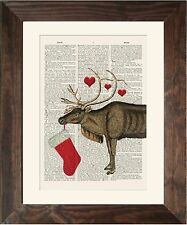 Antique Book page Art Print - Christmas Reindeer  Upcycled Old Vintage Print