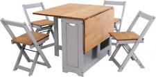 Folding Drop Leaf Santos Butterfly Dining Set with Table 4 Chairs Grey and Pine