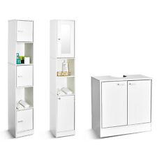 Modern Bathroom Cabinet Wall Mounted Under Sink Storage Tall Cupboard White