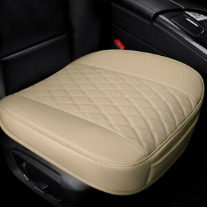 Car Beige Front Seat Cover Full Surround Breathable PU Leather Pad Auto Cushion