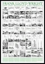 Frank Lloyd Wright buildings and Projects Poster Art pression dans le cadre 70x100cm