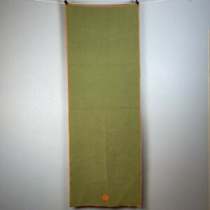 Skidless by Yogitoes Hot Yoga Non Slip Towels Mat Green Terry Cloth Orange 66x24