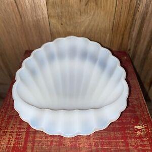 "Vintage Milk Glass Shell Scallop Soap Dish Trinket Tray 5.5"" X 4.5"""