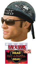 RIDE FAST LIVE HARD LINED DO DOO RAG FITTED Tied BANDANA Wings Skull Flame Biker