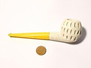 Vintage 1970's  Unused Patterned Hand Carved Meerschaum Smoking Pipe #14