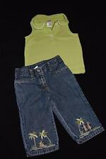 2-pc Gymboree Island Palm Trees Hula Girl Jeans Pants Flamingo Green Top 4