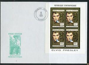 CENTRAL AFRICA 1993 ELVIS PRESLEY GOLD FOIL SHEET ON FIRST DAY COVER