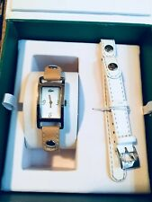 Women's Lacoste Watch Set White Tan China Strap Used with Box and  Original Tag