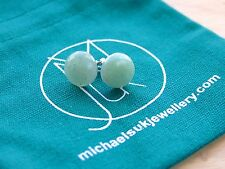 Green Aventurine Natural Gemstone Earrings Stud Quartz Crystal Healing Stone Cha