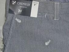 CREMIEUX Madison Navy White Stripe Shorts w/ Fish - 33 - NWT $69