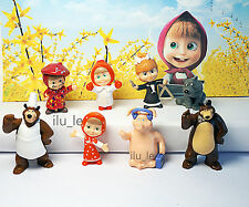 8 psc Masha and the Bear Mini figures toys party favor birthday cupcake toppers