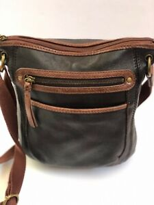 The Sak Crossbody Genuine Leather Brown Shoulderbag Messenger Purse