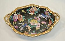 NORITAKE CHINA Oval Serving Bowl Elaborate Peonies and Birds on Black with Gold