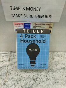 TEIBER 40 A19/CL  4 PACK HOUSEHOLD 40W  130V CLEAR EDISON BASE (11EB1UP