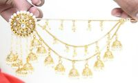 Indian Bollywood Wedding Bahubali White Earrings With Kaan Chain Jewelry Diwali