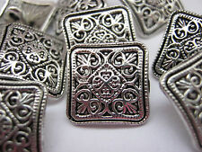 """10 Metal Shank Buttons 12mm (1/2"""") Silver Square Sewing Buttons Jacket  Buttons"""