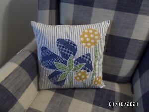 "OOAK Unique Spring & Summer Flower Appliqued Throw Pillow w/Insert - 16"" - NEW"