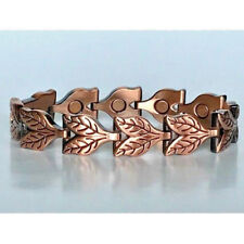 With Magnet In Every Link New 6434 7 In Copper Magnetic Bracelet Double Leaf