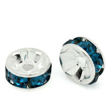 20 6mm Silver Plated PEACOCK BLUE Round Rhinestone Rondelle Beads bme0281