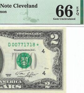 1976 $2 CLEVELAND * STAR * ⭐️ FRN, PMG GEM UNCIRCULATED 66 EPQ BANKNOTE.