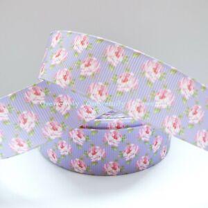Per Metre - Lilac Ditsy  - 25mm / 1 inch  Printed Grosgrain Ribbon / Cake/ Bows