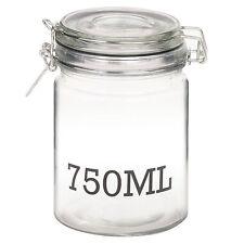 Air Tight Large Glass Storage Jar With Metal Clamp Lid Tall Kitchen Cruet 750ml Jar