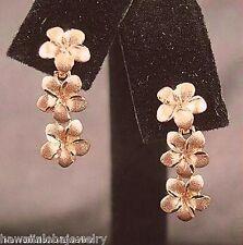 7mm Hawaiian Solid 14k Rose Gold DC Matte 3 Plumeria Dangling Stud Earrings #1H