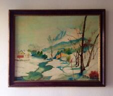 Mid 20Th Century Old Antique Impressionist Oil On Board Winterscape Painting
