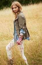 Love-Fire Nordstrom Floral Print Skinny Stretch White Jeans NWOT Size 0 JR 7497