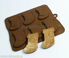 6 cell Christmas Stockings Chocolate Silicone Bakeware Mould Candy Cake Mold