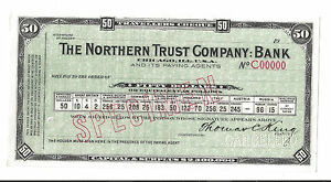 1910 travellers cheque The Northern Trust Bank CHICAGO $50 GOLD Specimen