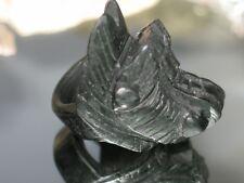 233CT NATURAL UNTREATED BLACK & DARK GREEN NEPHRITE A JADE DRAGON CARVING RING