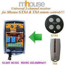 Mhouse universal 2-canaux Récepteur 12-24 VAC/VDC pour GTX4 & TX4 télécommandes