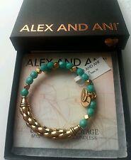 Alex and Ani AQUA Calypso Bangle Bracelet RiPPLE NWT CARD BOX Russian Gold