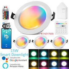 "7.28"" 15W Smart RGBWWCW LED Recessed Ceiling Panel Down Lights Bulb Lamp Fixture"