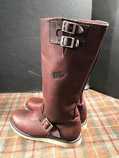 Red Wing 2987 Womens 9.5 B Tall Brown Leather Engineer Boots Gently Worn 15.5""