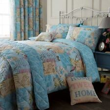 Vintage Multi Quilt Cover Patchwork / Reversible Floral Bedding + 1 Pillowcase