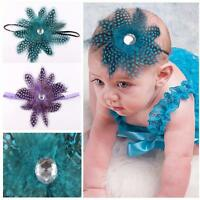 Fashion Headdress Girls Infant Baby Feather Headband Hairband Knot Headware