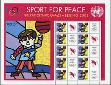 UN MNH sheet Sport for peace 2008 Beijing Olympic Year of Rat blueish gum