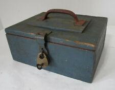 Antique 1900's Primitive Wooden Lock Box Old Blue Red Paint Folk Art