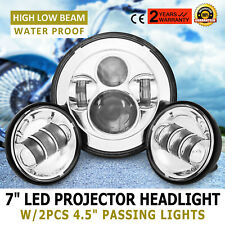 """7"""" LED Daymaker Headlight+Passing Lights for Harley Touring Siver"""