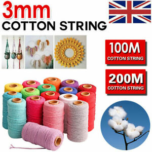 200m 100% Natural Beige Cotton Twisted Cord Craft Macrame Artisan String 3mm UK