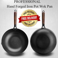 Professional Iron Pot Hand Forged Wok Non-stick Cooking Frying Pan Wok Gas Pans