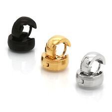 Men Lady Silver Gold Black 7mm x 3mm Hoop Huggie CURVED Earring Leverback 3 Pair