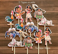 12- MOANA Cupcake Toppers / Cake Toppers / Birthday Party Decorations