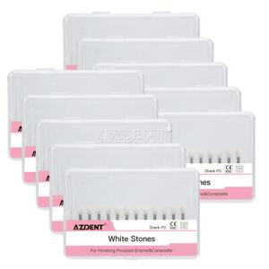 Fresas de Pulido Dental de Piedra Blanca Montada Redonda-FG Abras 12pzas/paquete