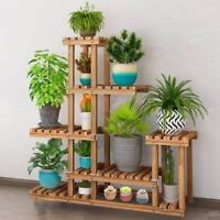 Carbonized Wood Plant Stand Flower Display Rack Large Storage For Indoor Outdoor